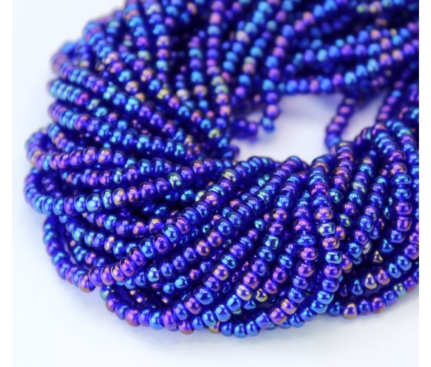 8/0 Czech Round Rocaille Seed Beads, Rainbow Cobalt Blue, Sold by 12-String Hank