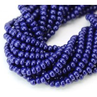 6/0 Czech Round Rocaille Seed Beads, Opaque Cobalt Blue, Sold by 6-String Hank