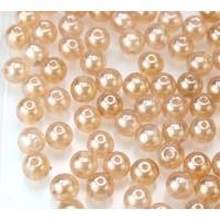 Peach Shimmer Czech Glass Beads, 6mm Round, 2.75 Inch Tube