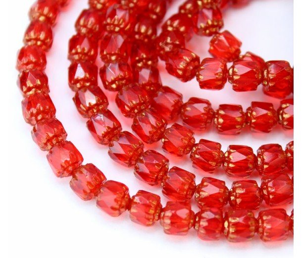Siam Red Picasso Czech Glass Beads, 6mm Renaissance, 7 Inch Strand