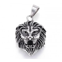 40mm Oversized Lion Head Pendant, Antique Silver