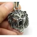 40mm Oversized Lion Head Pendant, Antique Silver