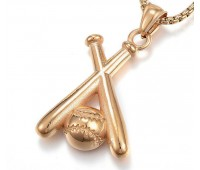 40mm Oversized Baseball Pendant, Gold Tone