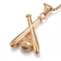 40mm Oversized Baseball Pendant, Gold Tone