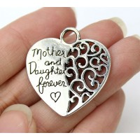28mm Mothers Day Heart Pendant, Antique Silver, 1 Piece