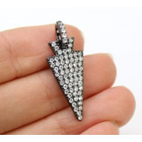 30mm Arrowhead Rhinestone Pendant with Pave Bail, Black Finish