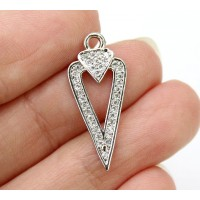 23mm Arrowhead Cutout Cubic Zirconia Pendant, Rhodium