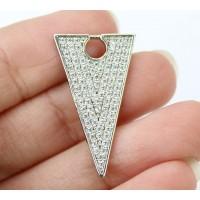 27mm Triangle Cubic Zirconia Pendant, Rhodium Plated