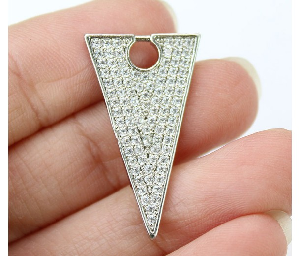 27mm Triangle Cubic Zirconia Pendant, Rhodium Plated