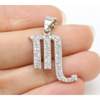 22mm Scorpio Zodiac Sign Cubic Zirconia Pendant, Rhodium Plated