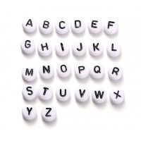 White Acrylic Beads, A to Z Alphabet Set, 7x4mm Flat Round