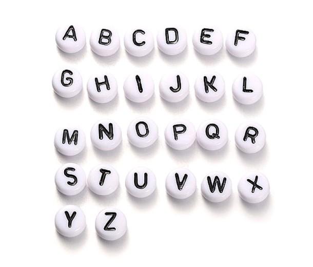 White Acrylic Beads, A to Z Alphabet Set, 7x4mm Flat Round