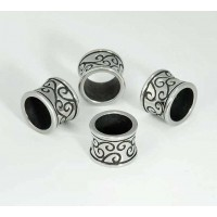 11mm Ornate Concave Tube Bead, Stainless Steel