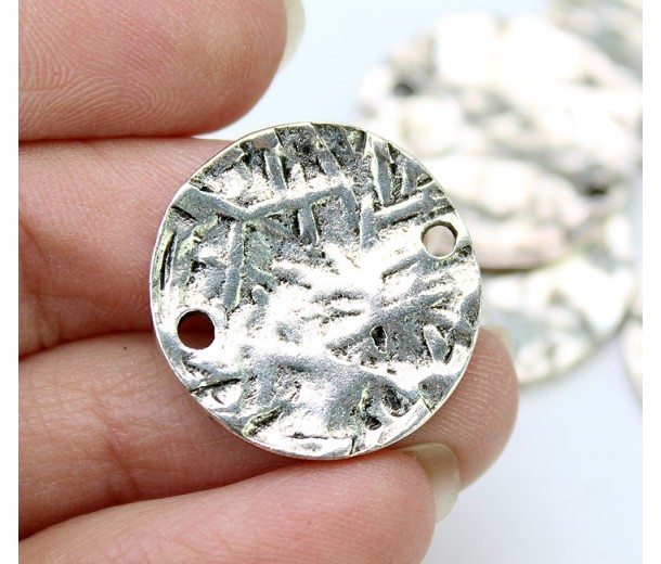 20mm Textured Disk Links, Antique Silver, Pack of 4