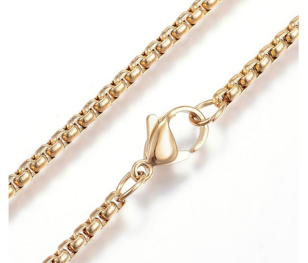 23 Inch Box Chain Necklace, 2.5mm Thick, Gold Tone Stainless Steel