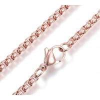 23 Inch Box Chain Necklace, 2.5mm Thick, Rose Gold Tone Stainless Steel