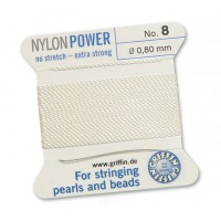 Griffin Nylon Cord Size 08 (0.8mm), White, 2-Meter Card