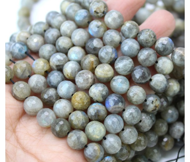 Labradorite Beads, Natural Rustic Grey, 8mm Faceted Round