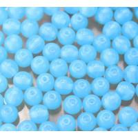 Milky Powder Blue Czech Glass Beads, 6mm Round, 2.75 Inch Tube