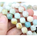 Amazonite Beads, Natural Multicolor, 9-10mm Faceted Nugget