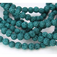 Lava Rock Beads, Teal Green, 6mm Round