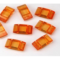 2 Hole Carrier Beads, 17x9mm, Tangerine Orange, Pack of 10