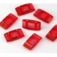 2 Hole Carrier Beads, 17x9mm, Red Orange
