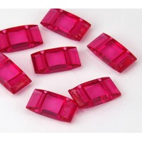 2 Hole Carrier Beads, 17x9mm, Fuchsia Pink, Pack of 10
