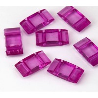 2 Hole Carrier Beads, 17x9mm, Magenta Pink, Pack of 10