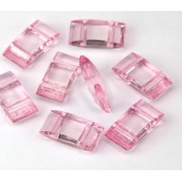 2 Hole Carrier Beads, 17x9mm, Rose Pink, Pack of 10