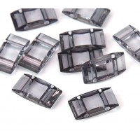 2 Hole Carrier Beads, 17x9mm, Steel Grey