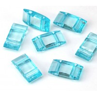 2 Hole Carrier Beads, 17x9mm, Light Aqua Blue