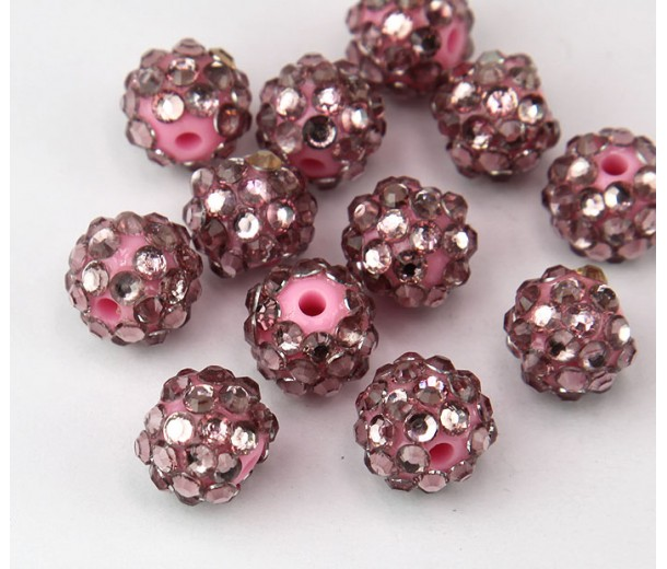 Dusty Rose Pink Rhinestone Ball Beads, 12mm Round