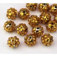 Gold Yellow Rhinestone Ball Beads, 12mm Round