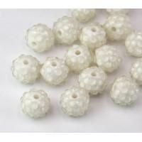 White Clear Rhinestone Ball Beads, 12mm Round