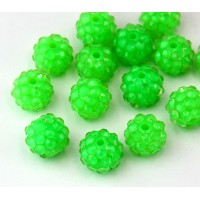 Bright Green Clear Rhinestone Ball Beads, 12mm Round
