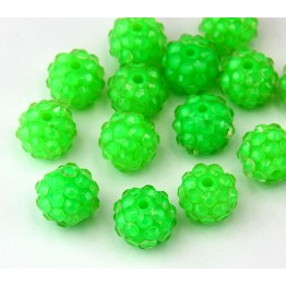 Bright Green Clear Rhinestone Ball Beads, 12mm Round