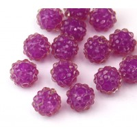 Orchid Purple Clear Rhinestone Ball Beads, 12mm Round