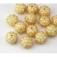 Cream Tone Clear Rhinestone Ball Beads, 12mm Round
