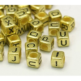 6mm Mixed Letter Cube Metalized Plastic Beads, Antique Gold