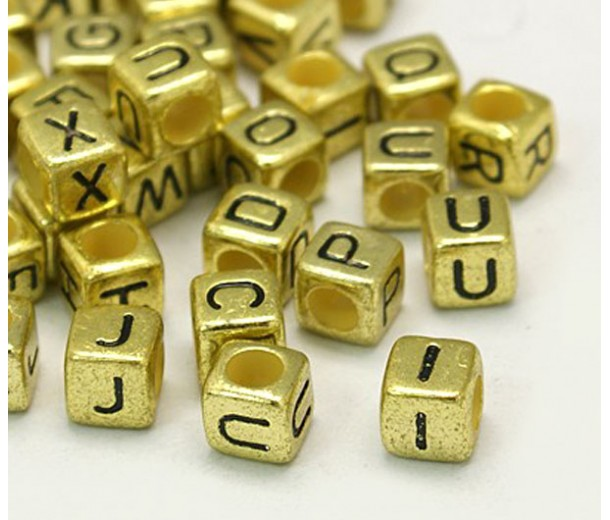 6mm Letter Cube Metalized Plastic Beads, Antique Gold