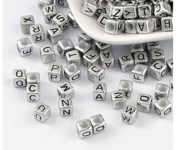 6mm Mixed Letter Cube Metalized Plastic Beads, Antique Silver
