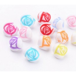 Rosebud Flower Acrylic Beads, Color Mix, 10x8mm