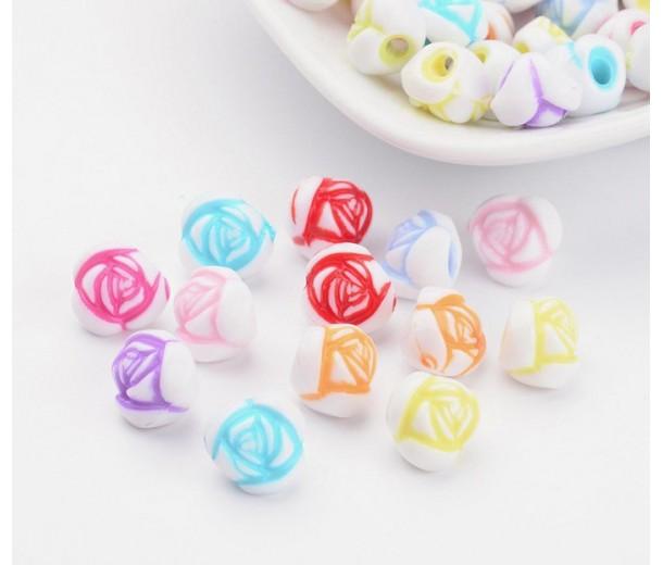 Rosebud Flower Acrylic Beads, Color Mix, 10x8mm