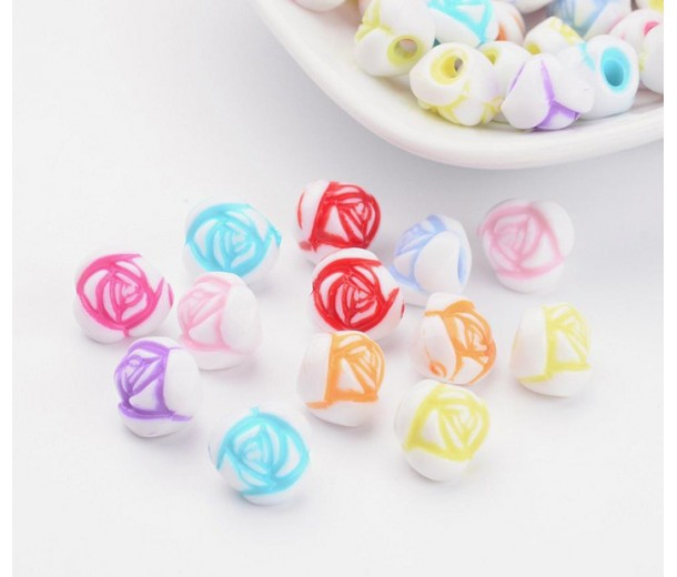 Rosebud Flower Acrylic Beads, Color Mix, 10x8mm, Pack of 50