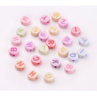 Pastel Letter Acrylic Beads, Color Mix, 7x4mm Flat Round