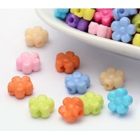 Flat Flower Acrylic Beads, Color Mix, 9x4mm