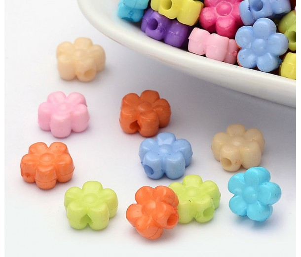 Flat Flower Acrylic Beads, Color Mix, 9x4mm, Pack of 100