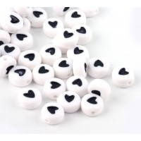 White Acrylic Beads, Black Heart Spacer, 7x4mm Flat Round, Pack of 100