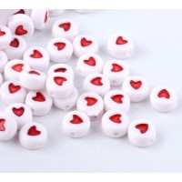 White Acrylic Beads, Red Heart Spacer, 7x4mm Flat Round, Pack of 100